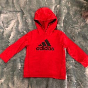 Adidas boy's red hoodie w/ black symbol - size 2t